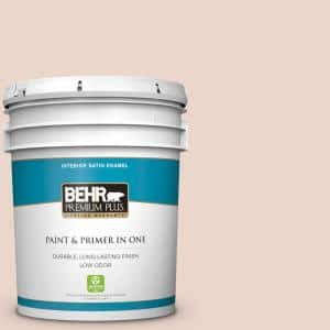 Behr Premium Plus 5 Gal 210e 2 Antique Pearl Satin Enamel Low Odor Interior Paint And Primer In One 705005 The Home Depot