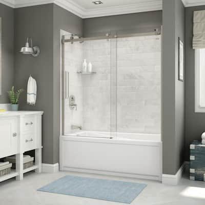 Utile 32 in. x 60 in. x 81 in. Bath and Shower Combo in Marble Carrara, New Town Left Drain, Halo Door Brushed Nickel