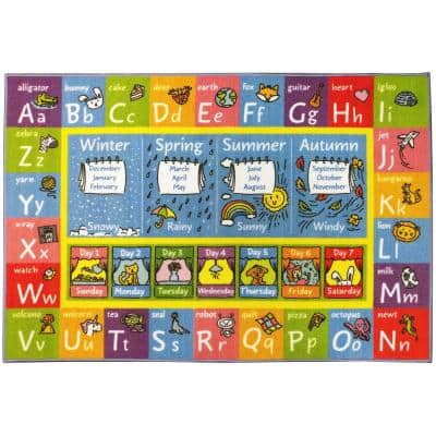 Multi-Color Kids Children Bedroom ABC Alphabet Seasons Months Days Educational Learning 5 ft. x 7 ft. Area Rug
