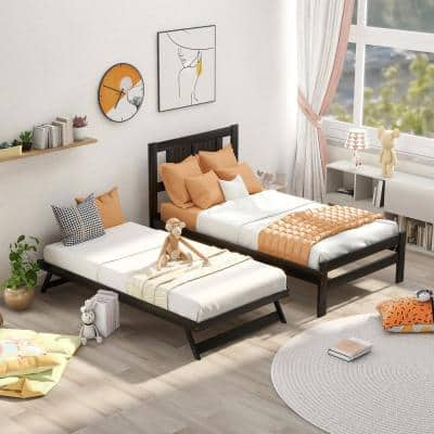 Espresso Twin Size Platform Bed with Adjustable Trundle