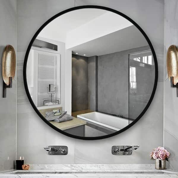 Medium Round Black Hooks Modern Mirror, What Size Round Mirror For A 48 Vanity
