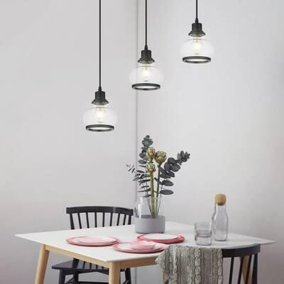 Theodore 27 in. 3-Light Black Ceiling Pendant Light