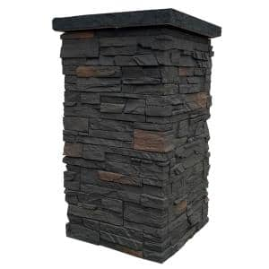 Country Ledgestone 30 in. x 16 in. Appalachian Gray Faux Polyurethane Stone Siding Column Wrap (4-Piece)