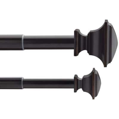 36 in. - 72 in. Telescoping 3/4 in. and 1 in. Double Curtain Rod Kit in Oil Rubbed Bronze with Flat Square Finials