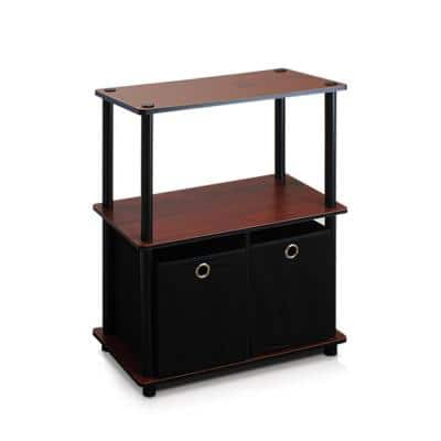 29.75 in. Dark Cherry/Black Wood 2-shelf Etagere Bookcase with Open Back