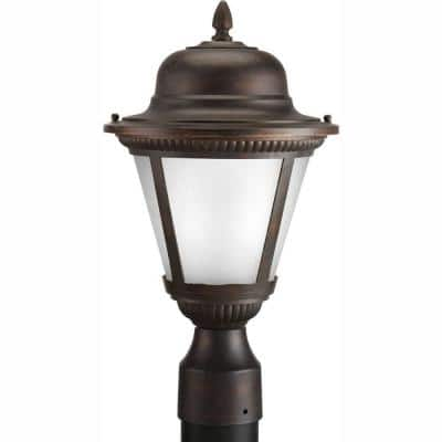 Westport LED Collection 1-Light Antique Bronze Etched Seeded Glass Traditional Outdoor Post Lantern Light