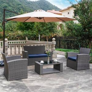 Hudson 4-Piece Gray Rattan Wicker Patio Conversation Set with Navy Blue Cushions