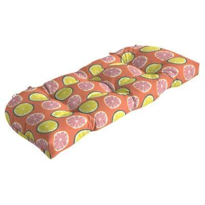 Rectangle Outdoor Wicker Settee Cushion in Watercolor Citrus