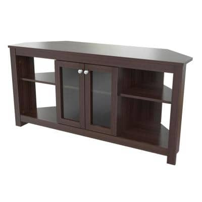 49 in. Brown Wood Corner TV Stand Fits TVs Up to 60 in. with Adjustable Shelves