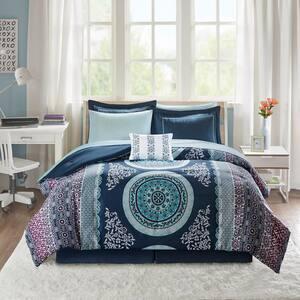 Eleni 7-Piece Navy Twin XL Comforter Set