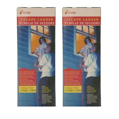 Fire Escape Ladder, 2-Story, 13 ft. Long, 1,000 lb. Load Capacity, 2-Pack