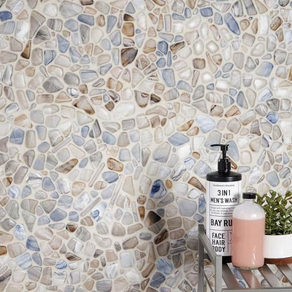 Ivy Hill Tile Hydra Frosted Seaglass 11, Sea Glass Mosaic Tile Bathroom