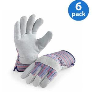 Genuine Suede Leather Palm Work Glove (6 Pair Value Pack)