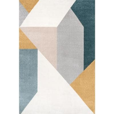 Prisms Modern Abstract Light Grey 5 ft. x 8 ft. Area Rug
