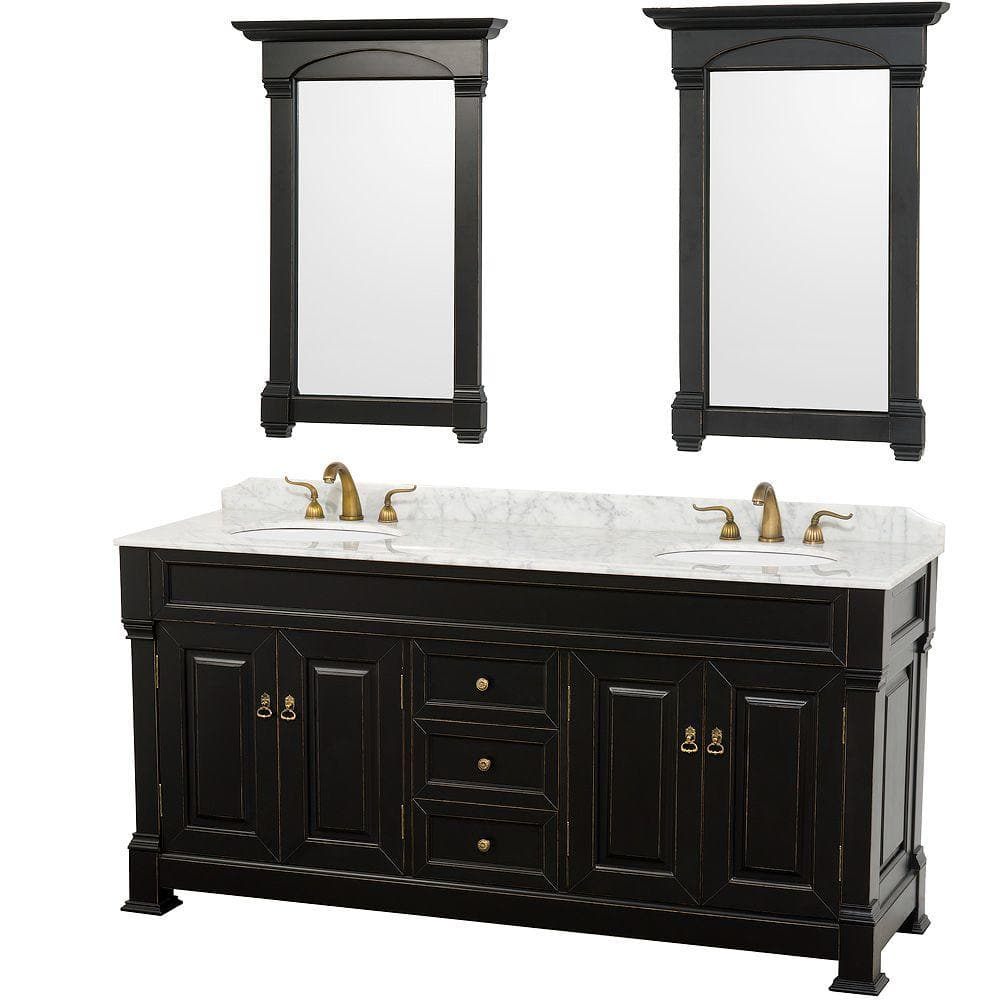 Wyndham Collection Andover 72 In Vanity In Antique Black With Marble Vanity Top In Carrera White And Mirrors Wcvtd72blcw The Home Depot