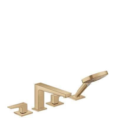 Metropol 2-Handle Deck Mount Roman Tub Faucet with Hand Shower in Brushed Bronze