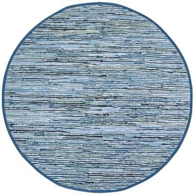 Leather Blue 3 ft. x 3 ft. Round Area Rug
