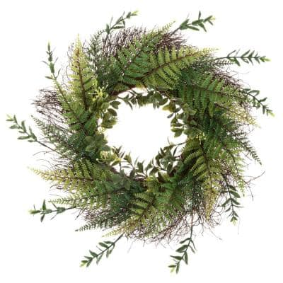 Artificial Fern 21 in. Wreath with Grapevine Base