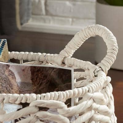 Ivory Round Water Hyacinth Decorative Basket with Handles (Set of 2)
