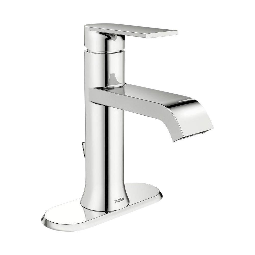 Moen Genta Single Hole Single Handle Bathroom Faucet In Chrome Ws84760 The Home Depot