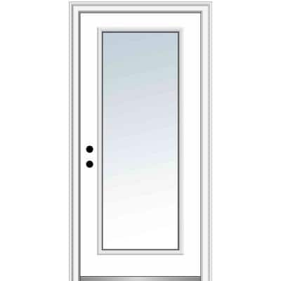 34 in. x 80 in. Classic Right-Hand Inswing Full-Lite Clear Glass Primed Steel Prehung Front Door on 4-9/16 in. Frame