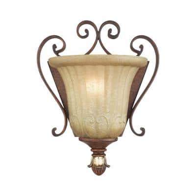 Villa Verona 1 Light Verona Bronze with Aged Gold Leaf Accents Wall Sconce