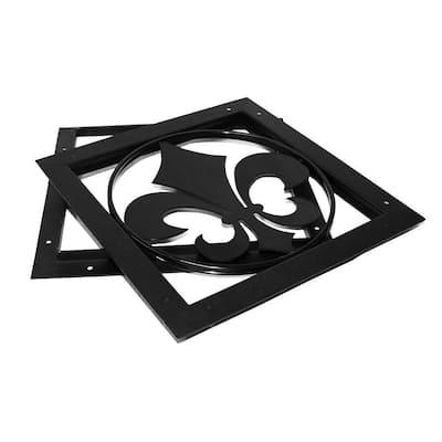 OWT (Ornamental Wood Ties) 15 in. Bulk Galvanized Steel Gate Accent - Fleur-De-Lis
