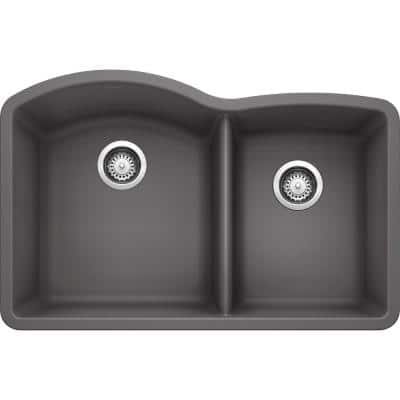 DIAMOND Undermount Granite Composite 32 in. 60/40 Double Bowl Kitchen Sink in Cinder