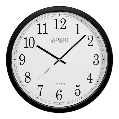 14 in. Atomic Round Analog Black Wall Clock