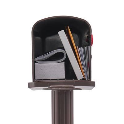 Newbury Medium, Plastic, Mailbox & Post Combo, Mocha