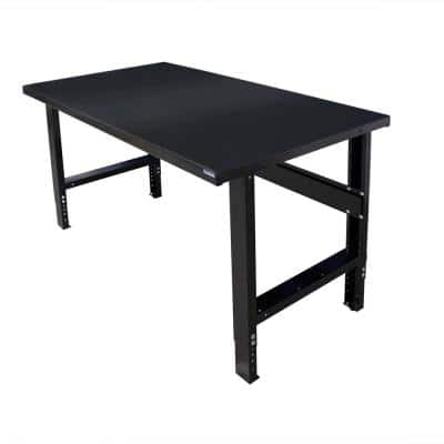 34 in. x 72 in. Heavy-Duty Adjustable Height Workbench with Black Painted Top, Commercial Grade, 16-Gauge Steel