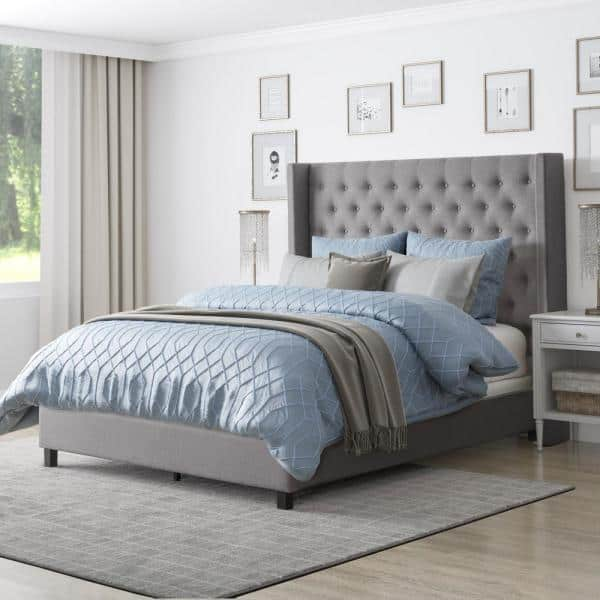 Corliving Fairfield Grey Tufted Fabric King Bed With Wings Bbt 360 K The Home Depot