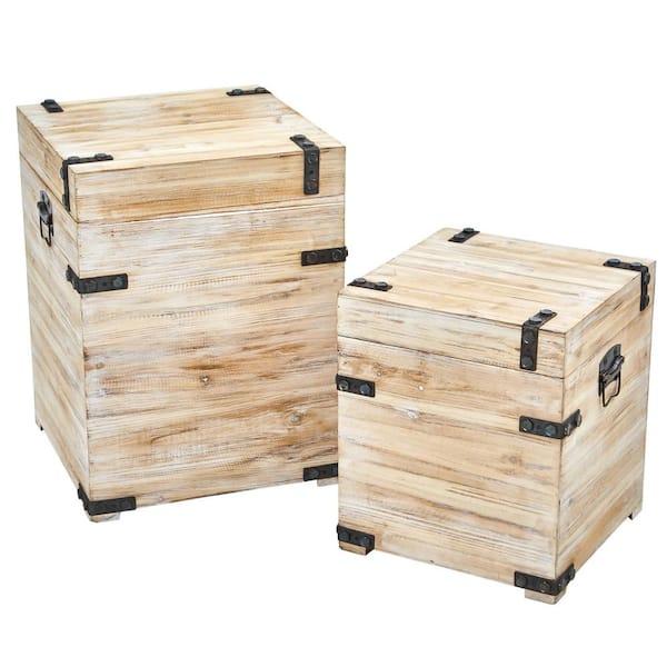 Nearly Natural Decorative White Wash, Wood Storage Box