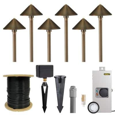Low Voltage Cast Brass Conehead Bronze Path Light Kit (6-Pack)