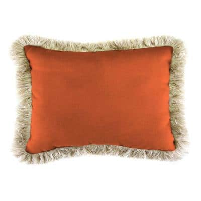 Sunbrella 9 in. x 22 in. Canvas Tuscan Lumbar Outdoor Pillow with Canvas Fringe