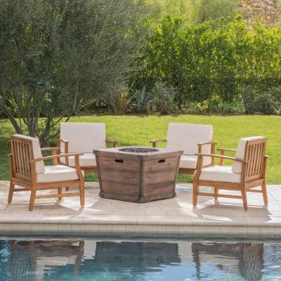 Mark Teak Brown 5-Piece Wood Patio Fire Pit Set with Cream Cushions