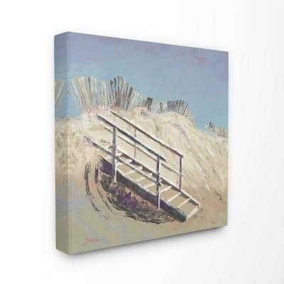 """24 in. x 24 in. """"Stairs to the Beach Blue and Tan Painting"""" by John Burrows Canvas Wall Art"""