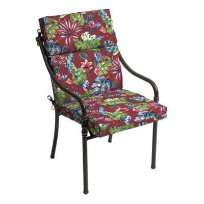21.5 in. x 24 in. Ruby Tropical Outdoor High Back Dining Chair Cushion (2-Pack)