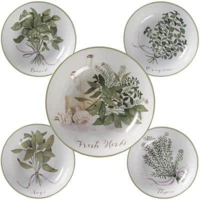 Fresh Herbs 12 in. and 8 in. Multi-Colored Pasta Bowl Set (Set of 5)