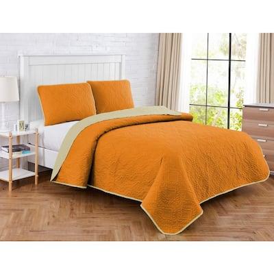 Solid Medallion 2-Piece Orange/Tan Microfiber Twin Quilt Set