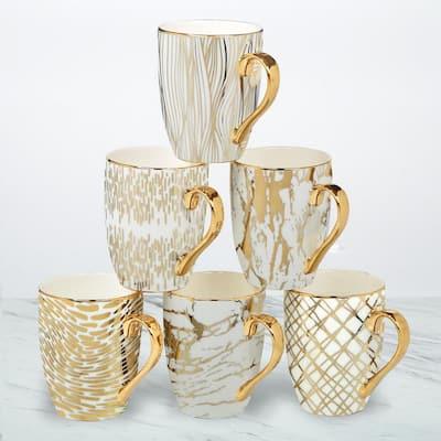 Matrix 6-Piece Patterned Multi-Colored Porcelain 16 oz. Mug Set (Service for 6)