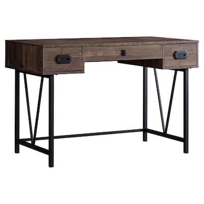 48 in. Rectangular Brown/Black 2 Drawer Computer Desk with Built-In Storage