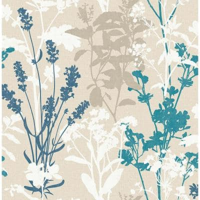 Santa Lucia Blue Wild Flowers Bronze Wallpaper Sample