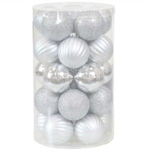 Silver Beautiful Baubles Plastic Ornament Set (25-Piece)