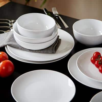 White Essential 16-Piece Casual Porcelain Dinnerware Set (Service for 4)