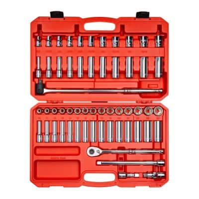 1/2 in. Drive 6-Point Socket and Ratchet Set 3/8 in. to 1 in., 10 mm to 24 mm (58-Piece)