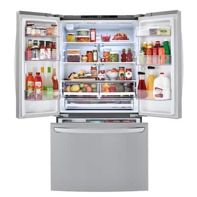 23 cu. ft. Counter Depth 3-Door French Door Refrigerator with Glide N' Serve in PrintProof Stainless Steel