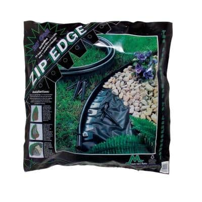Zip Edge 20 ft. Recycled Plastic Landscape Lawn Edging with Sod Pins Black