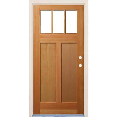 36 in. x 80 in. 2 Panel Left-Hand/Inswing Craftsman 3 Lite Clear Low-E Glass Unfinished Fir Wood Prehung Front Door