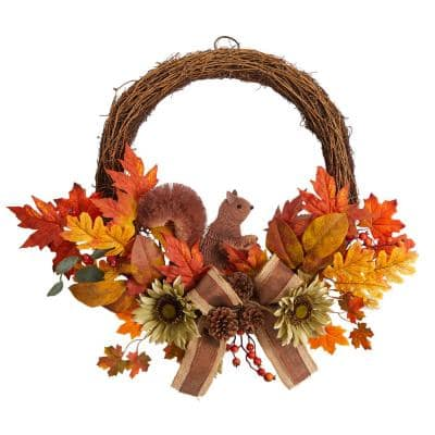 26 in. Orange Fall Harvest Artificial Autumn Wreath with Twig Base and Bunny